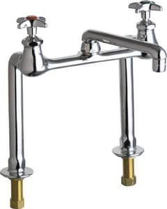 Chicago Faucet 2-Hole Deck Mount Hot and Cold Water Inlet Bridge Faucet with Double Cross Handle C941AB