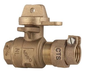 Ford Meter Box 1 in. 300 psi Pack Joint x FIP Curb Stop Ball Valve with Lock Wing FB41344WRNL