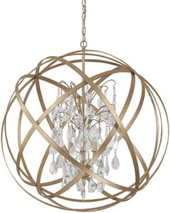 Capital Lighting Fixture Axis 30-1/2 in. 6-Light Pendant with Crystals Included C4236CR