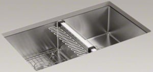 Kohler Strive™ 32 x 18-1/4 in. Under-Mount Double Equal Kitchen Sink with Basin Rack K5281-NA