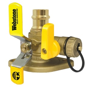 Webstone Company Isolator® Press x Flanged Brass Full Port Ball Valve with Tee Handle and Multifunction Drain W8141HV