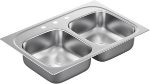 Moen 2200 Series 2-Bowl Drop-In Kitchen Sink with Center Drain MG22217