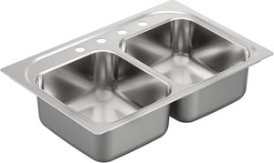 Moen 33 x 22 in. 4-Hole 2-Bowl Drop-In Kitchen Sink in Stainless Steel MG202134