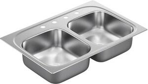 Moen 33 x 22 in. 20 Gauge Double Bowl Drop In Sink Stainless Steel MG202154