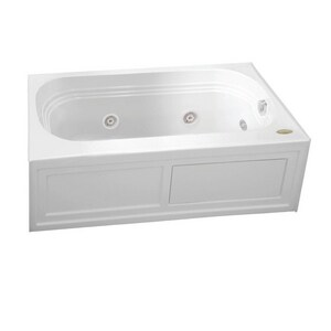 Jacuzzi Luxura® 60 x 30 in. Acrylic Rectangle Skirted Whirlpool Bathtub with Left Drain and J2 Basic Control JLXS6030WLR2CH