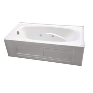 Jacuzzi Amiga® 72 x 36 in. 8-Jet Acrylic Oval in Rectangle Drop-In or Skirted Whirlpool Bathtub with Right Drain and J2 Basic Control JAMS7236WRL2CH