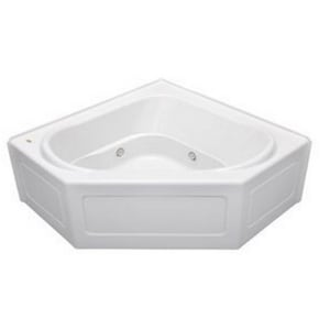 Jacuzzi Capella® 55 x 55 in. 8-Jet Acrylic Corner Skirted Whirlpool Bathtub with Center Drain and J2 Basic Control JCPS5555WCR2HX