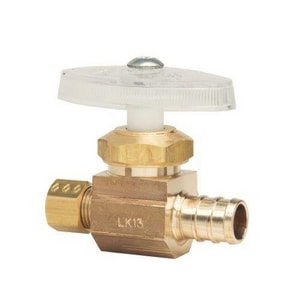 Brass Craft BRPX04 Series 1/2 x 1/4 in. Nom Barbed x Compression Multi-Turn Angle Stop Supply in Brass BBRPX04XR