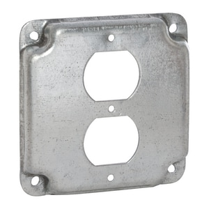 Raco 4-19/100 x 1/2 in. Square Exposed Work Cover with 1 Duplex Receptacle Cover R902C