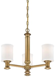 Minka-Lavery Harbour Point 100W 3-Light Medium E-26 Chandelier with Etched Opal in Liberty Gold M5178249