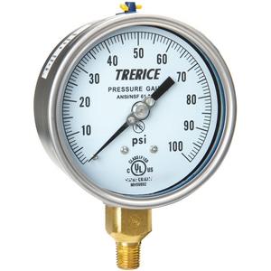 H.O. Trerice 700 Series 4 x 1/4 in. Brass Pressure Gauge T700B4002LA