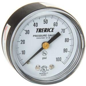 H.O. Trerice 800B Series 1-1/2 x 1/8 in. Lower Mount Pressure Gauge in Black T800B1501LA