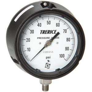 H.O. Trerice 450 Series 4-1/2 x 1/4 in. Stainless Steel Glycerine Liquid Filled Pressure Gauge T450LFSS4502LA