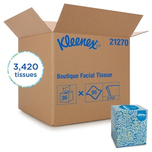 Kimberly Clark Kleenex® Single-Use Boutique Facial Tissue with Cube Box in White (Case of 36) K21270