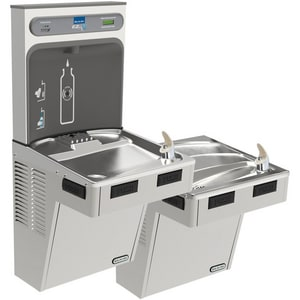Elkay EzH2O® 46-1/4 in. 8 gph Bottle Filling Station with Bi-Level Cooler in Stainless Steel ELMABFTL8WSSK