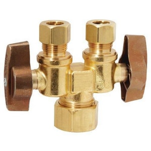 Brass Craft 1/2 x 3/8 in. Compact Dual Shut-Off Valve BKTCR1901DVSXR