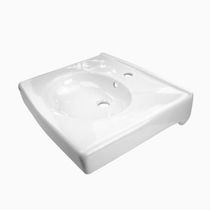 Sloan Valve 1-Bowl Vitreous China Wall Mount Lavatory Sink in White S3873105