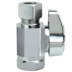 Brass Craft G2R10 Series 3/8 in Lever Handle Straight Supply Stop Valve in Polished Chrome BG2R10XC