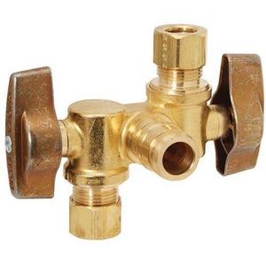 Brass Craft 1/2 x 3/8 in. Cross Linked Polyethylene Compact Dual Shutoff BKTBRPX1901DVXR