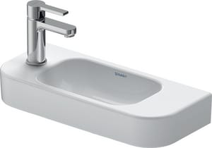 Duravit USA Happy D.2 19-5/8 x 8-5/8 in. 1 Hole 1-Bowl Wall Mount Ceramic Rectangular Bathroom Sink with Center Drain in White D0711500008