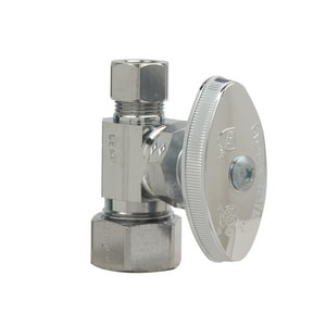 Brass Craft Nom Compression x OD Compression Straight Stop Valve in Satin Nickel BOCR14XNS