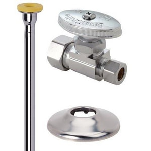 Brass Craft 12 in. Compression Straight Supply Stop Valve in Polished Chrome BOCR1412DLX