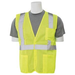 ERB Safety Safety Vest with Hook and Loop Closure in Hi-Viz Lime ES362PGR