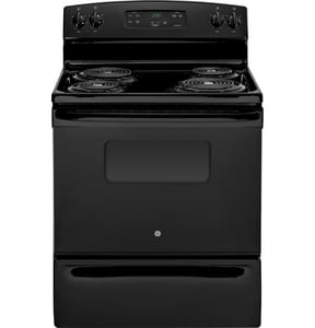 General Electric Appliances 5 CF 30 in. 4-Burner Free Standing Electric Range in Black GJBS27DFBB