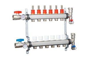 Qest 3/4 in. Stainless Steel Heating Manifold with Flowmeter QQHPMS