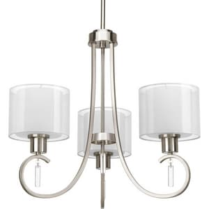 Progress Lighting Invite 100W 3-Light Medium E-26 Incandescent Chandelier in Brushed Nickel PP469509