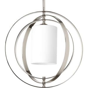 Progress Lighting Equinox 100W 1-Light Medium Base Incandescent Pendant in Polished Nickel PP7078104