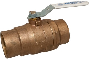 Nibco S-580-66-LF 2-Piece Bronze and Stainless Steel Solder Conventional Port Ball Valve with Lever Handle NS58066LF