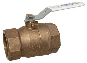 Nibco T-580-80-LF 2-Piece Threaded Silicon Bronze Conventional Port Ball Valve with Lever Handle NT58080LF