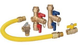 Brass Craft 3/4 in. Water Heater Installation Kit with Gas Ball Valve BTK30RB2118G3X