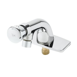 T&S Brass 0.5 gpm 3-Hole Metering Lavatory Faucet with Single Push Handle in Polished Chrome TB0805VRVF05