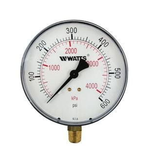 Watts 1/4 in. NPT Bottom Entry Pressure Gauge WLFDPG140B