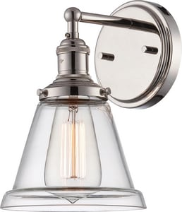 Nuvo Lighting Vintage 1 Light 100W E26 Wall Sconce Polished Nickel N605412