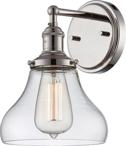 Nuvo Lighting Vintage 100W 1-Light Wall Sconce in Polished Nickel N605413