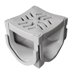 Fernco StormDrain® Plus 4 in. 4-Way Connector & Grate Quad Assembly Grey FFSDPQUAD