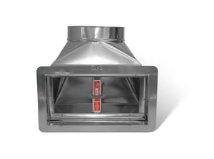 Lukjan Metal Products 90° Elbow Register Boot with Ceiling Radiation Damper and 6 in. Throat Extension SHMRB912URD