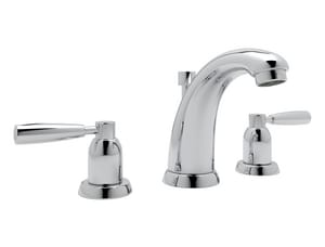 Rohl Perrin & Rowe® 1.2 gpm 3-Hole Widespread Lavatory Faucet with Double Lever Handle and Pop-Up Drain Assembly in Polished Chrome RU3860LSAPC2