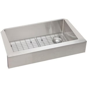 Elkay Crosstown™ 31-1/2 x 18-1/2 in. Single Bowl Apron Front Sink with Drain and Bottom Grid Polished Satin EECTRUF30179RDBG