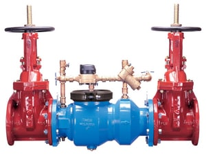 Wilkins Regulator Grooved x Flanged Ductile Iron Backflow Preventer with Double Detector Check Assembly Outside Stem and Yoke Gate Valve W350DARHLF