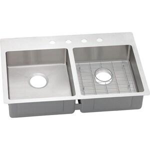 Elkay Crosstown™ 3-Hole 2-Bowl Dualmount Kitchen Sink Kit in Polished Satin EECTSRAD33226BG3