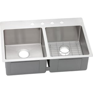 Elkay Crosstown™ 2-Bowl Dual Mount Kitchen Sink Kit with Rear Center Drain in Polished Satin EECTSR33229BG0