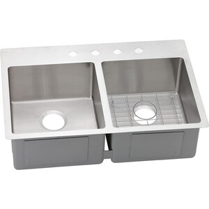 Elkay Crosstown™ 2-Hole 2-Bowl Dualmount Kitchen Sink Kit in Polished Satin EECTSR33229BG2