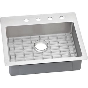 Elkay Crosstown™ 1-Bowl Topmount and Undermount Rectangular Kitchen Sink Kit with Rear Center Drain in Polished Satin EECTSRAD25226BG0