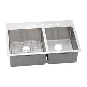 Elkay Crosstown™ 4-Hole 2-Bowl Dualmount Kitchen Sink EECTSRO33229RBG4