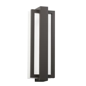 Kichler Lighting Sedo 4 in. 30W 1-Light Outdoor LED Wall Sconce with Clear Polycarbonate Glass in Architectural Bronze KK49434AZ