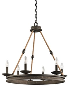 Kichler Lighting Kearn 60W 6-Light Candelabra Base Incandescent Chandelier KK43423